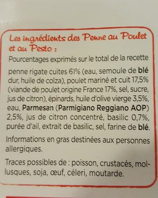 Penne au Poulet, Sauce Pesto - Ingredients