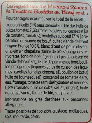 Macaroni sauce Tomate et Boulettes au boeuf - Ingrédients