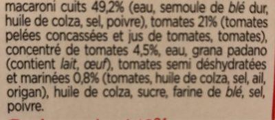 Macaroni - Información nutricional