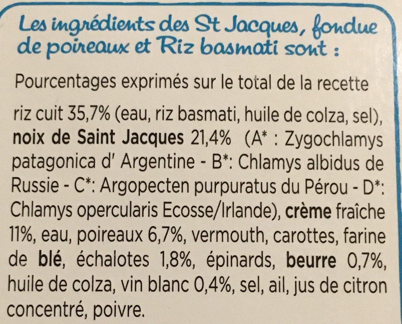 St Jacques fondue de poireaux & riz basmati - Ingredienti - fr