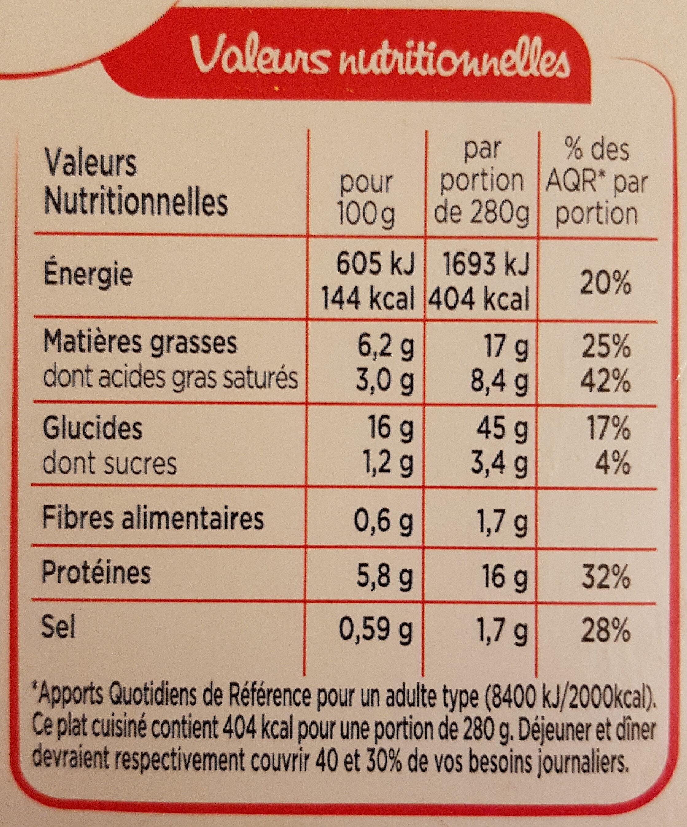St Jacques fondue de poireaux & riz basmati - Valori nutrizionali - fr