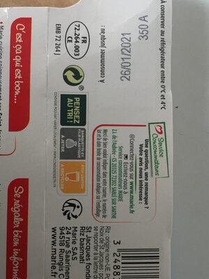 St Jacques fondue de poireaux & riz basmati - Istruzioni per il riciclaggio e/o informazioni sull'imballaggio - fr