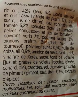 Poulet basquaise - Riz cuisiné aux tomates - Ingrédients - fr