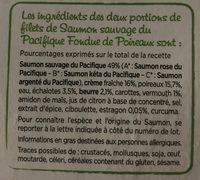 Saumon Atlantique, Fondue de Poireaux 400G - Ingrédients