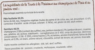 Tourte Parisienne - Ingrédients
