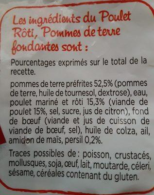 Poulet rôti, Pomme de terre fondantes - Ingrédients - fr