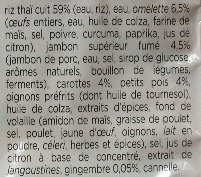 Riz à la cantonaise, Omelette et Jambon supérieur (900g) - Ingrédients