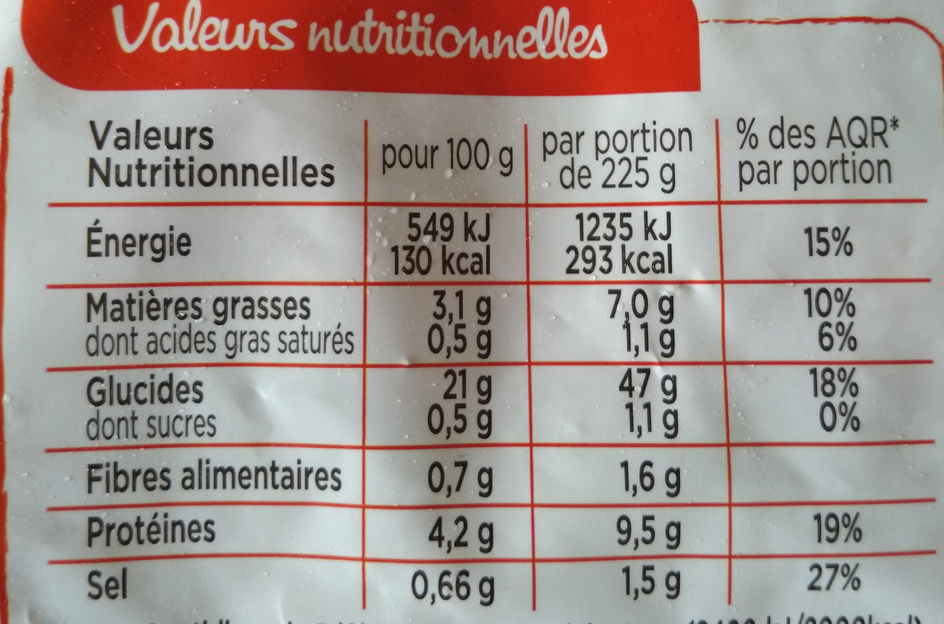 Riz à la cantonaise, Omelette et Jambon supérieur (900g) - Informations nutritionnelles - fr