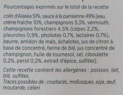 Colin d'Alaska à la Parisienne, Surgelé - Ingrédients