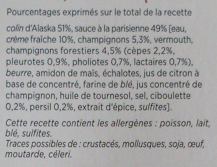 Colin d'Alaska à la Parisienne, Surgelé - Ingredients - fr