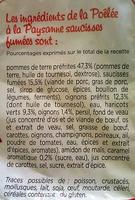 Poelée à la Paysanne, Saucisses Fumées 900G - Ingrédients