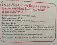 CMO Royale 400g Jambon - mozzarella - emmental Présente en x3 - Ingrédients - fr