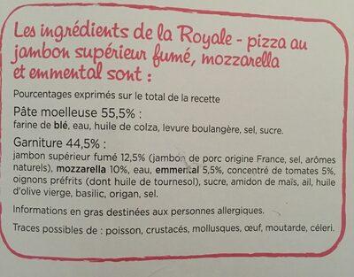 CMO Royale 400g Jambon - mozzarella - emmental Présente en x3 - Ingrédients
