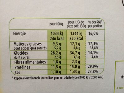 CroustiMoelleuse Originale 4 Fromages - Informations nutritionnelles
