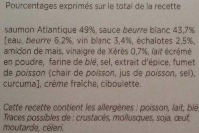 Saumon Alantique, Beurre Blanc - Ingrediënten