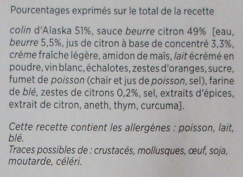 Colin d'Alaska, Beurre Citron - Ingrédients - fr