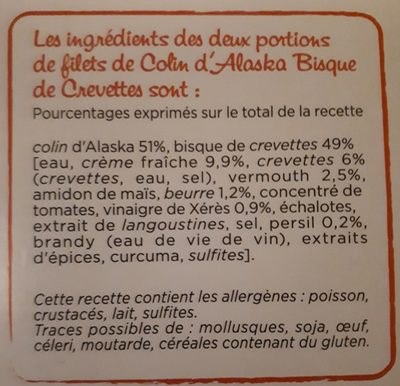 Colind'Alaska, Bisques de crevettes - Ingredients