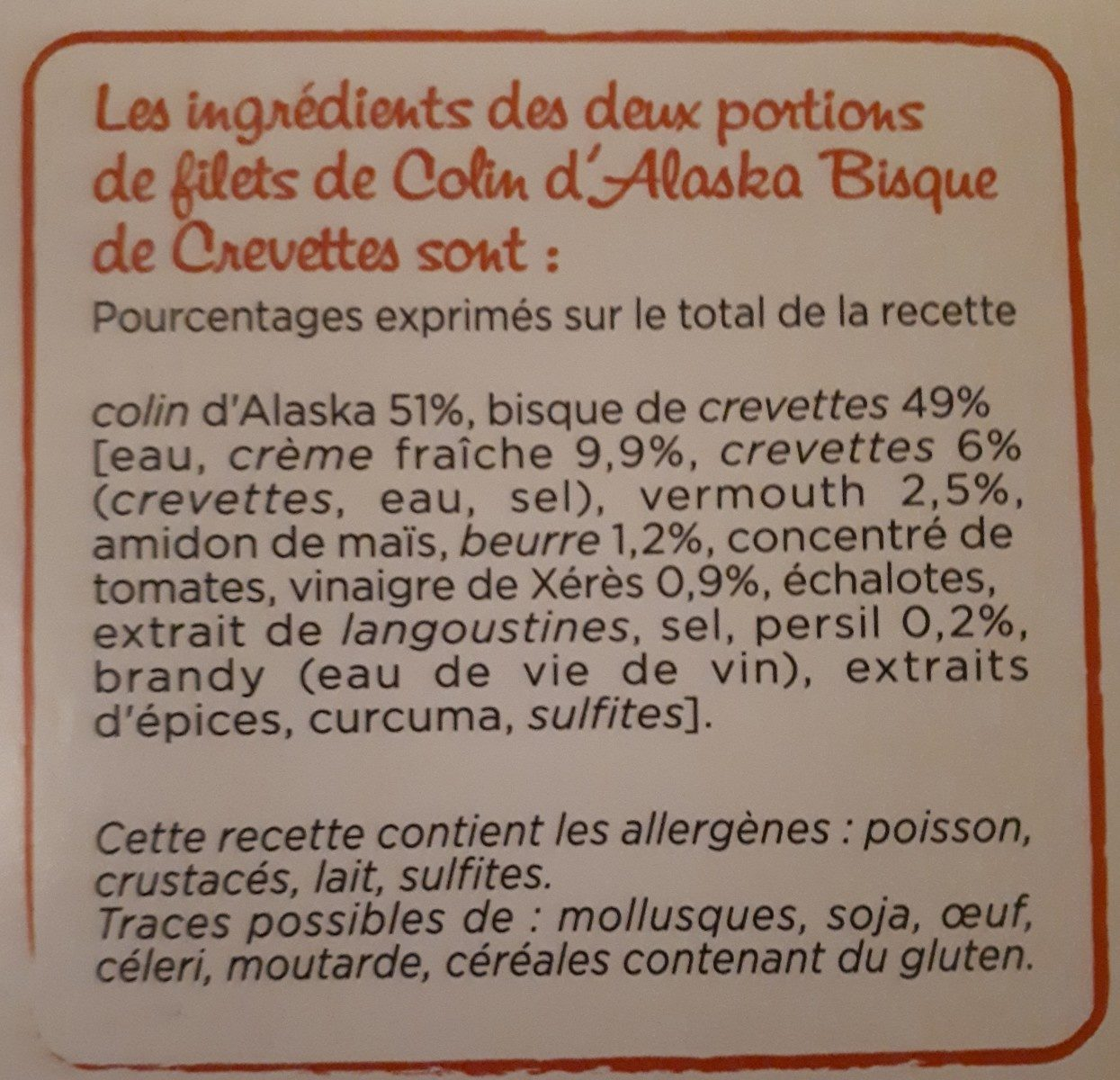 Colind'Alaska, Bisques de crevettes - Ingredients - fr