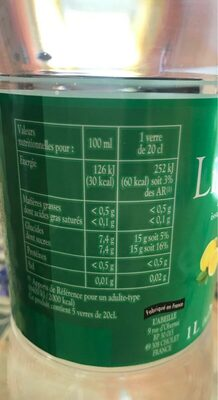 Limonade Bio - Informations nutritionnelles