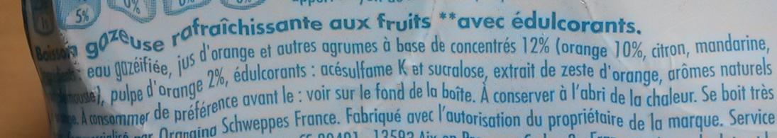 Orangina miss O ! - Ingrediënten - fr