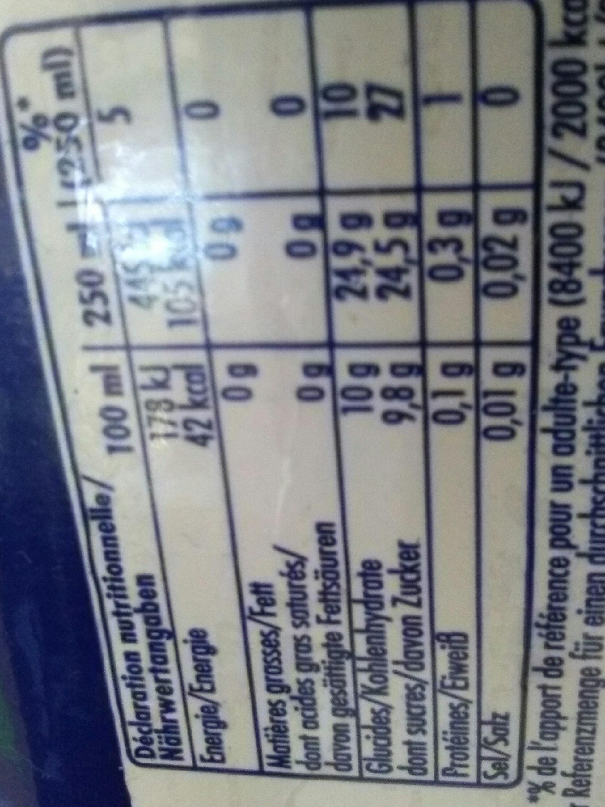 Orangina - Nutrition facts - fr