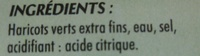 Haricots verts extra finsSperziebonen Extra fijn - Ingredients
