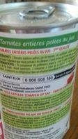 Tomates Entières Pelées au Jus 2ème qualité - Ingrédients