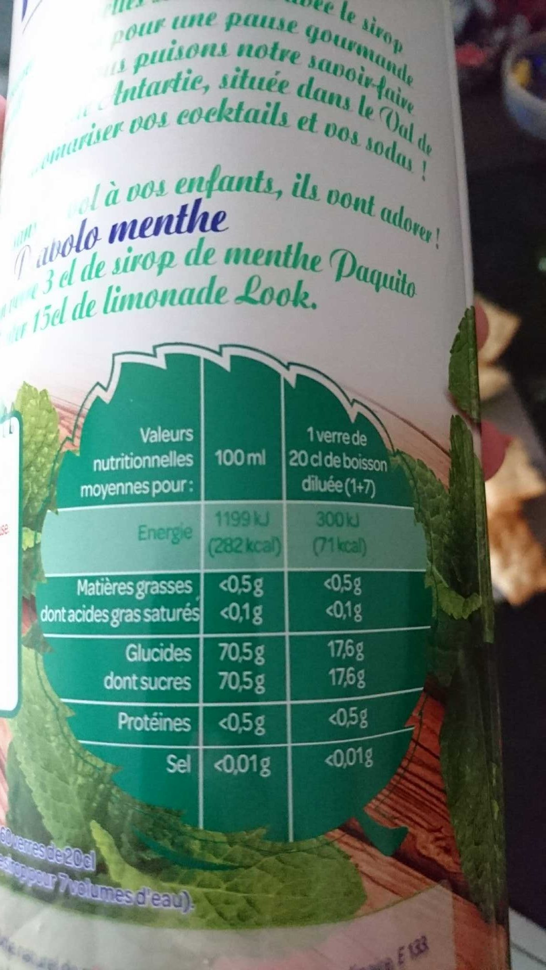 Sirop menthe - Nutrition facts