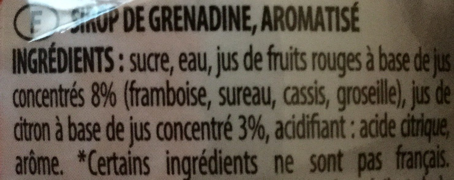 Sirop Grenadine - Ingredients - fr