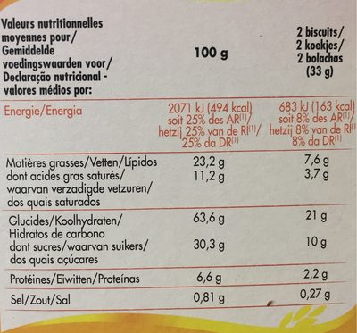 Cookies Nougat' Choc - Nutrition facts