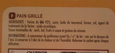 Pain grillé nature - Ingredients