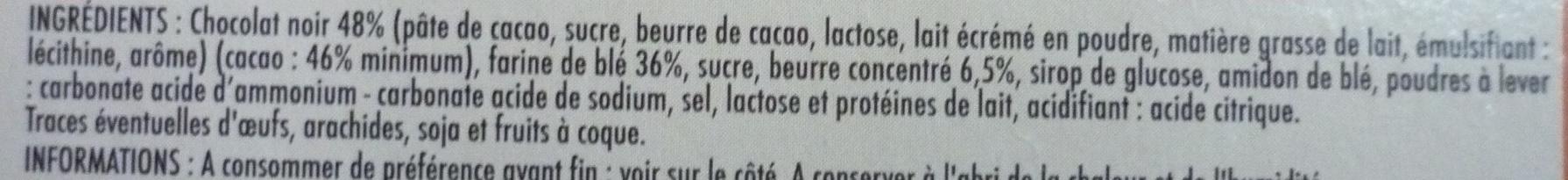 Tableau d'Honneur chocolat noir - Ingrédients