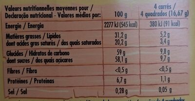 Chocolat Blanc ivoria - Nutrition facts