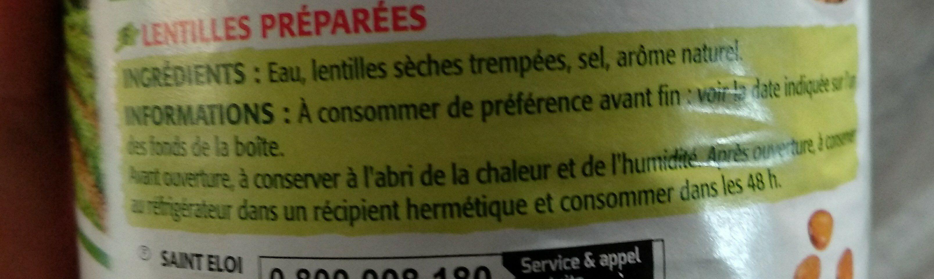 Lentilles préparées - Ingrediënten - fr
