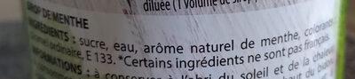 Sirop Menthe - Ingredients