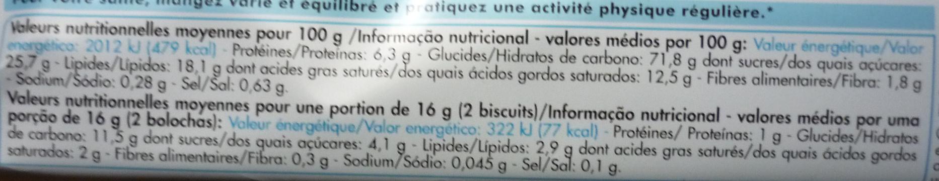 Galettes bretonnes pur beurre - Informations nutritionnelles - fr