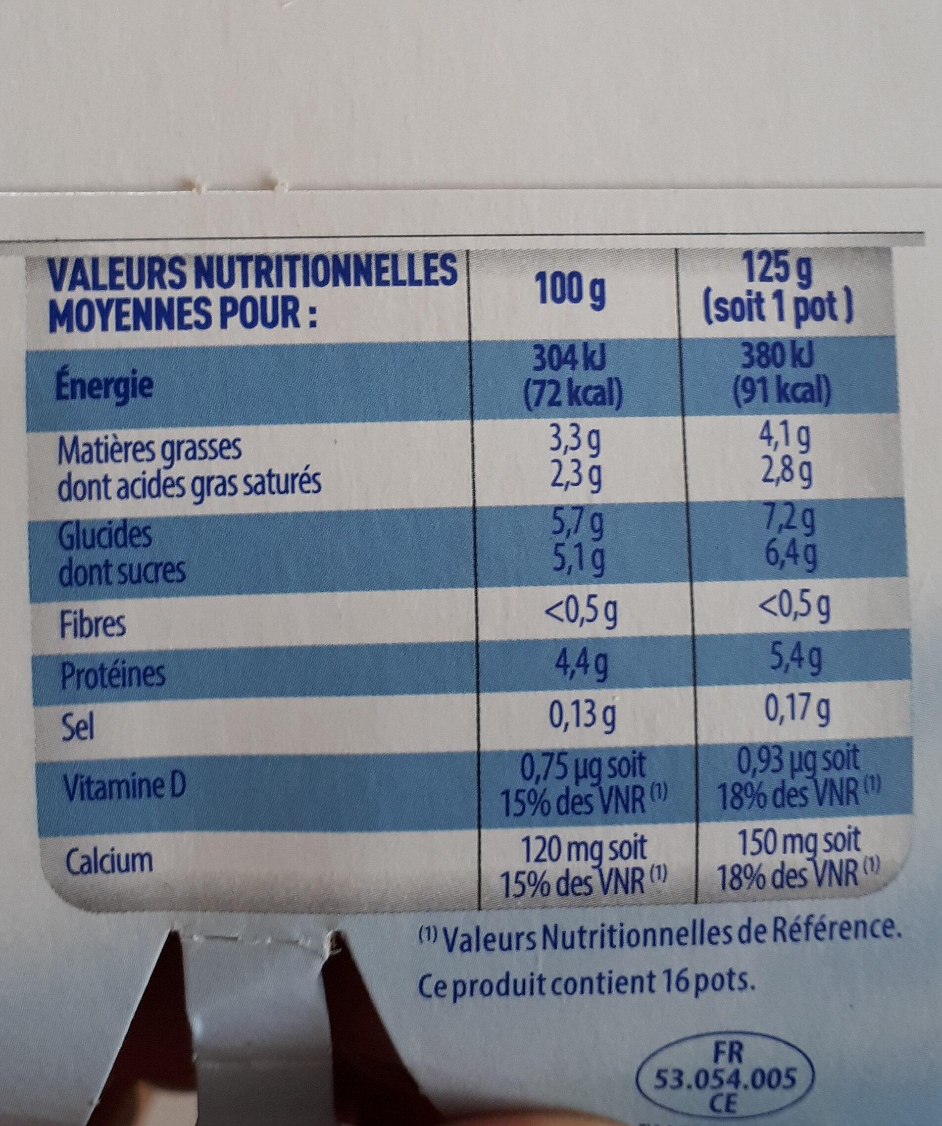 Onctueux - 16 Yaourts brassés nature - Informations nutritionnelles - fr