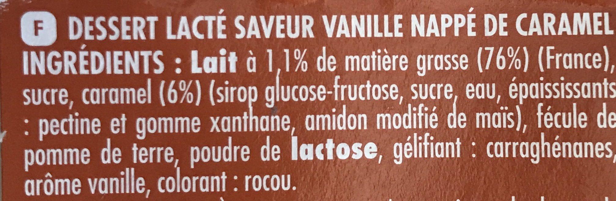 , Dessert Cool'Cara vanille nappe caramel, les 12 pots de 100 g - Ingrédients