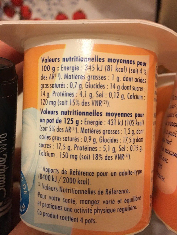 Yaourt sucré au sucre de canne - Nutrition facts