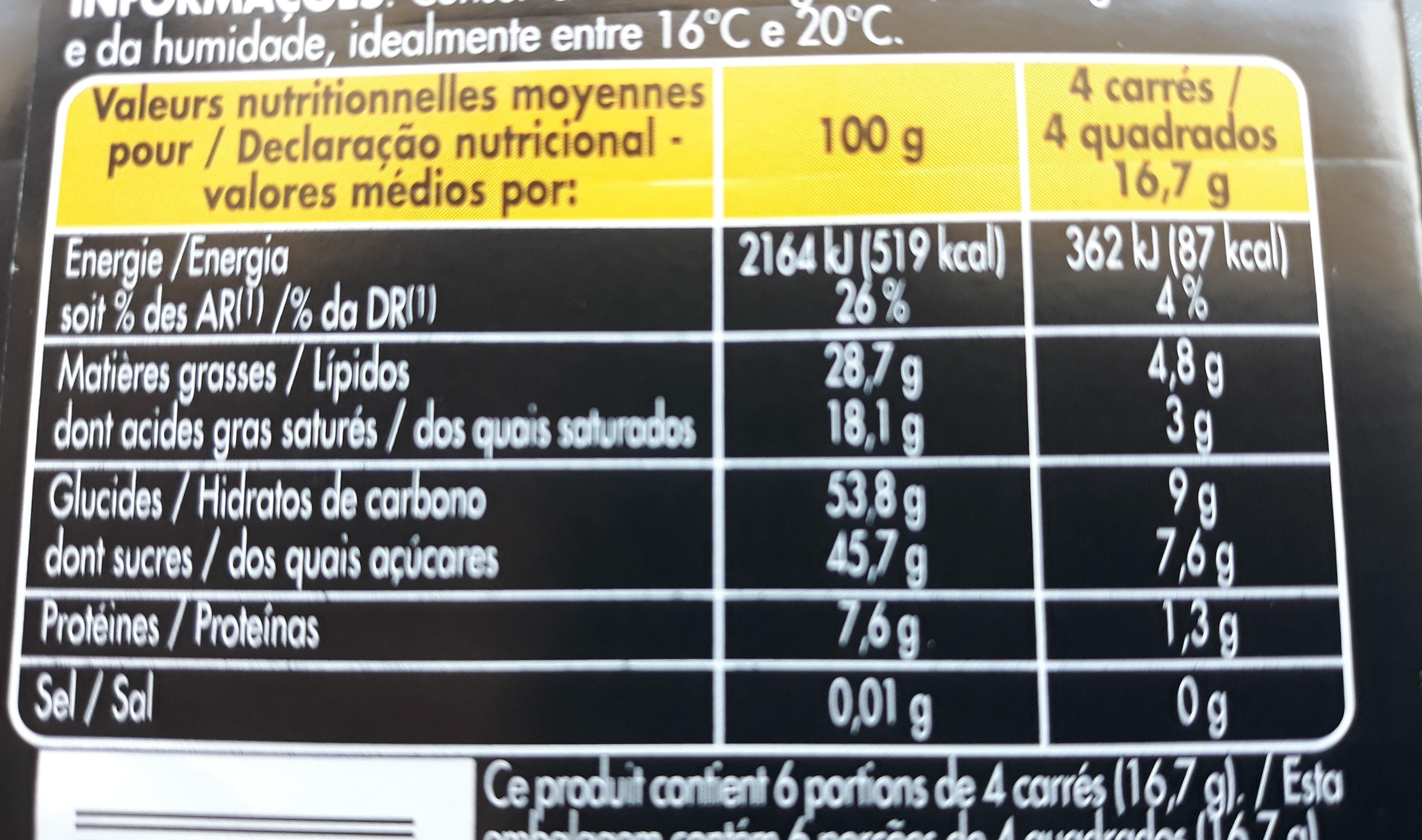 Noir Supérieur - Nutrition facts