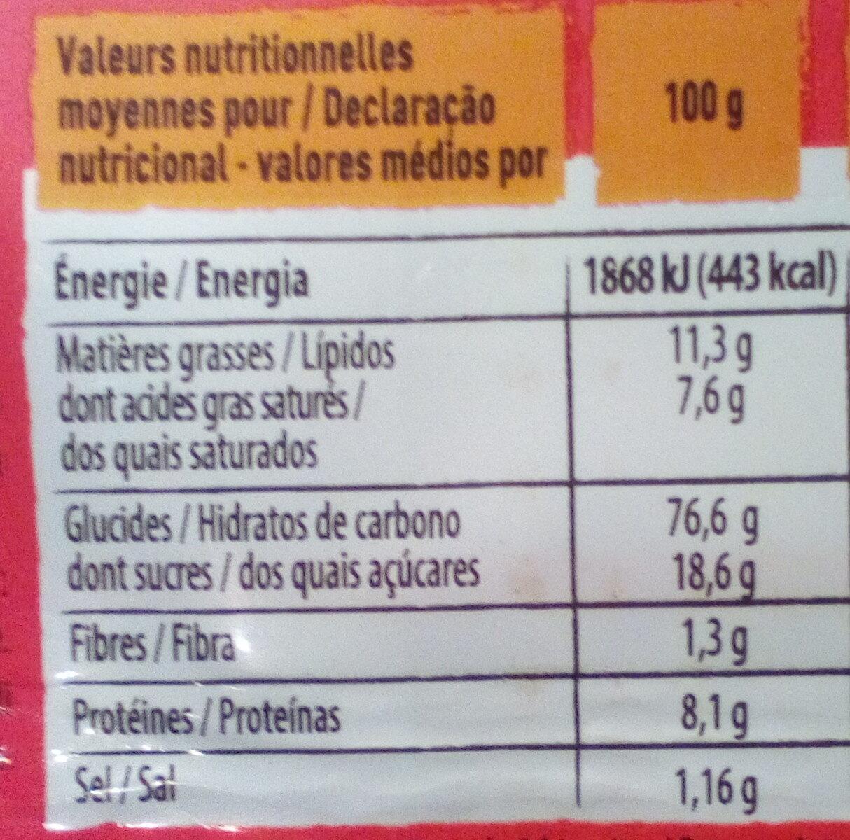 Petit beurre - Informação nutricional - fr