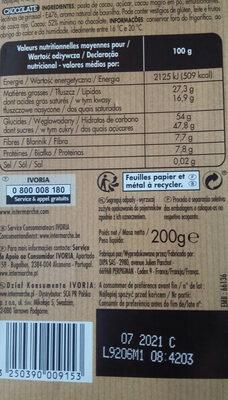 Dessert noir - Informations nutritionnelles