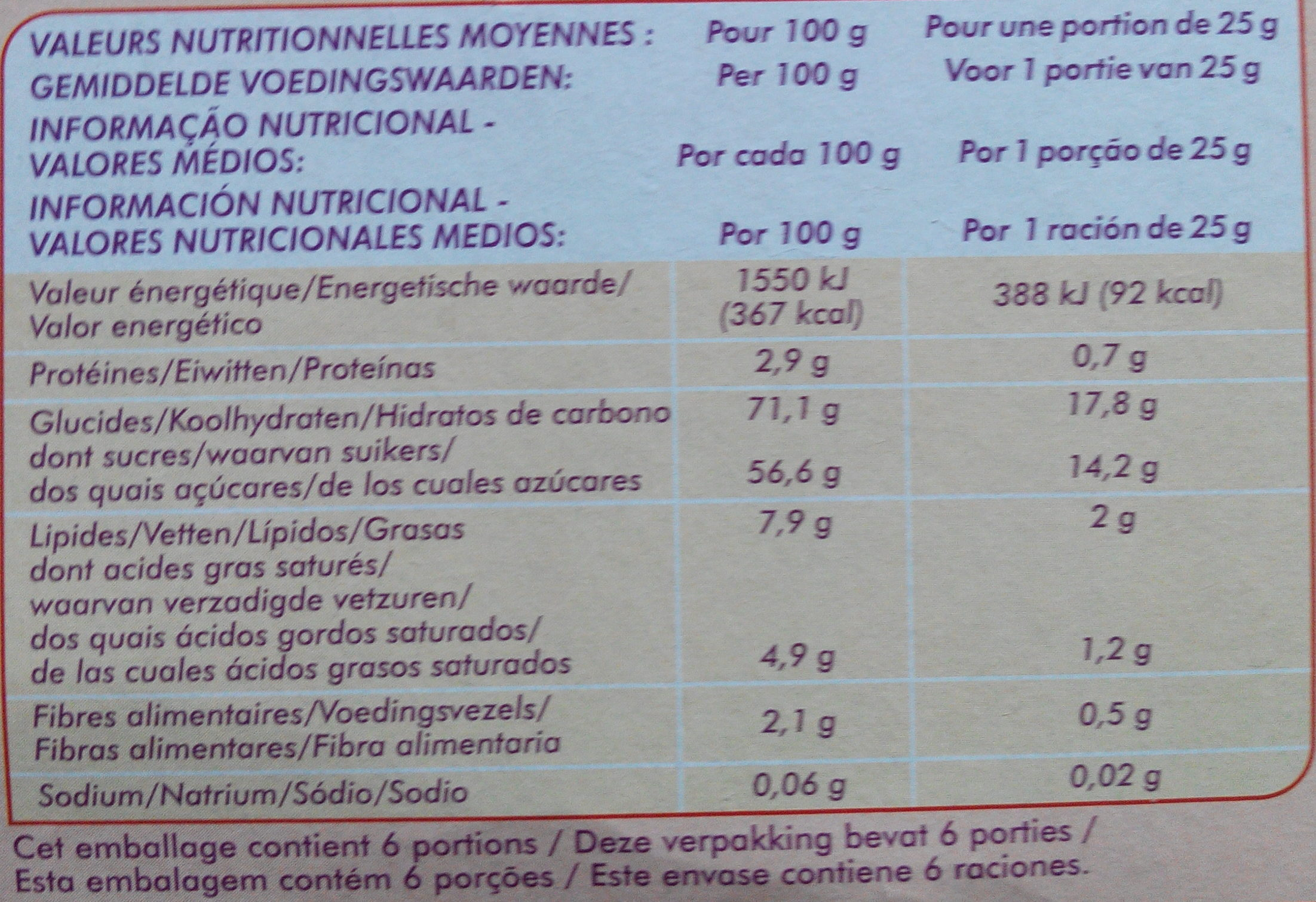 Génoises fourrées orange - Nutrition facts - fr