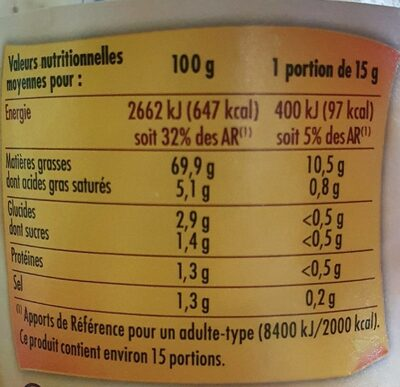 Mayonnaise à la Moutarde à l'ancienne - Informations nutritionnelles - fr