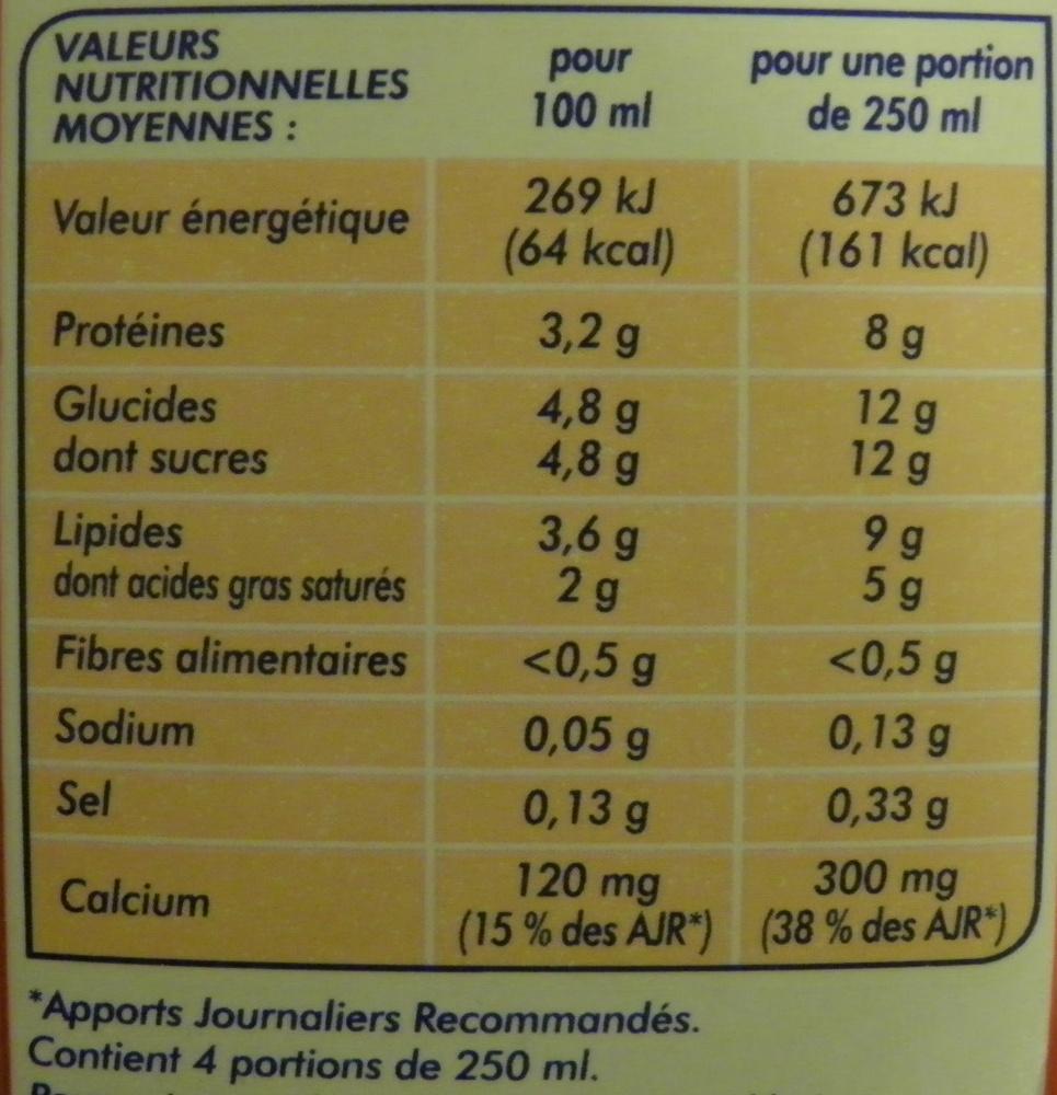 Lait Entier Stérilisé UHT - Informations nutritionnelles