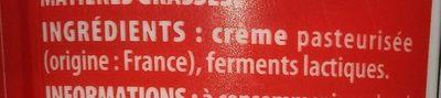 Crème fraîche épaisse entière 30% - Ingrediënten - fr