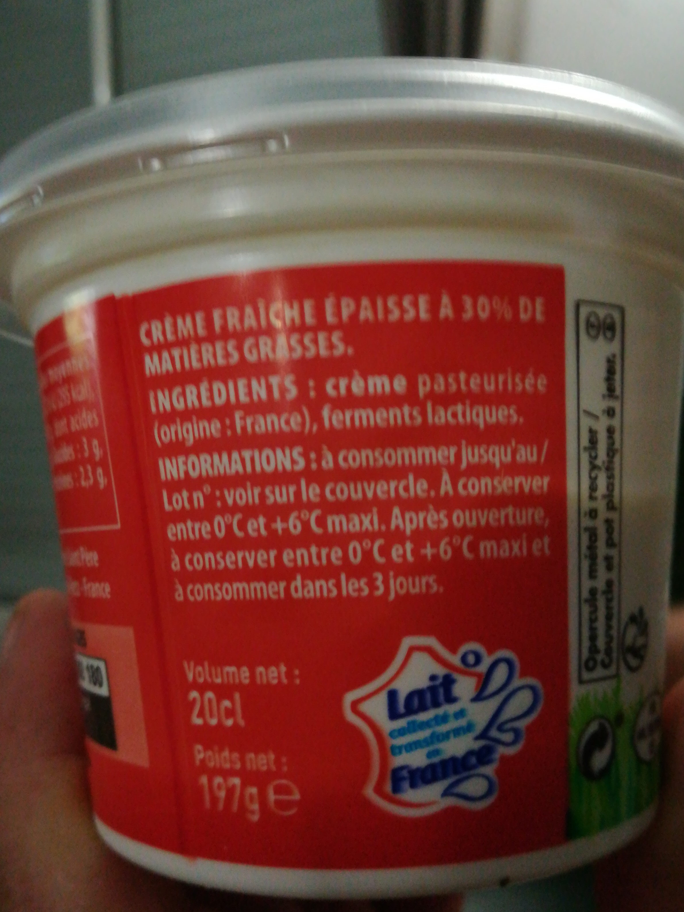 Crème fraîche épaisse entière 30% - Voedingswaarden - fr