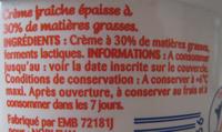 Crème Fraîche Épaisse Entière (30 % MG) - Ingrediënten