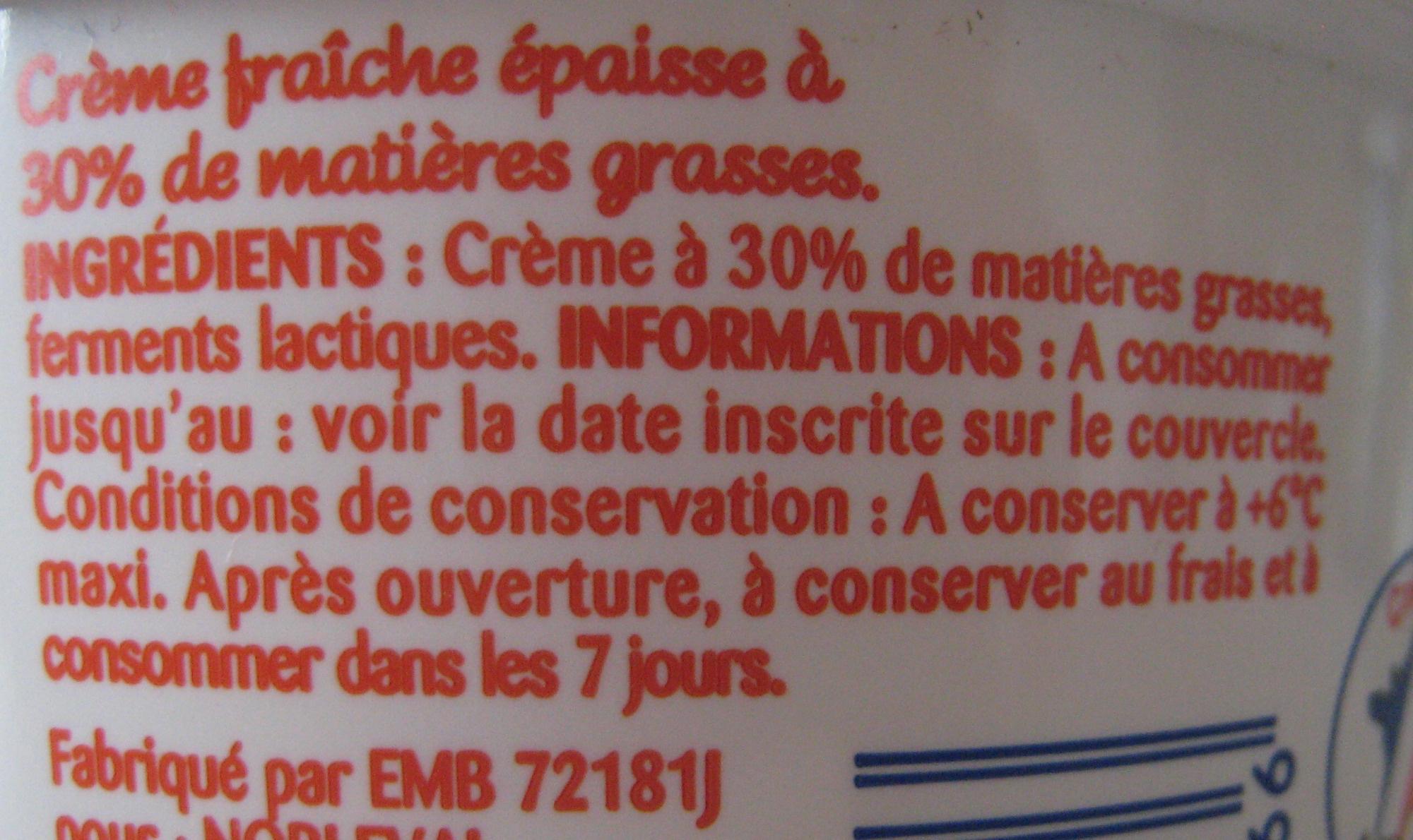 Crème Fraîche Épaisse Entière (30 % MG) - Ingrediënten - fr