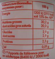Crème Fraîche Épaisse Entière (30 % MG) - Voedingswaarden - fr